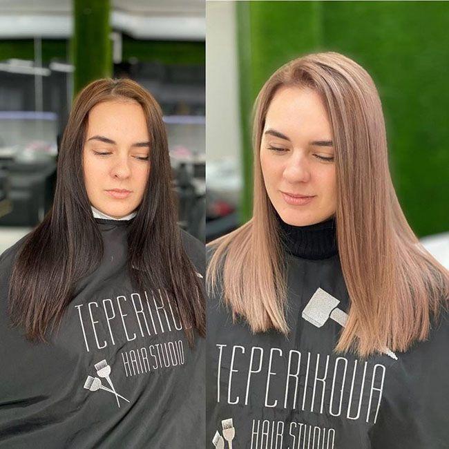 Колорирование волос осветление фото петрова