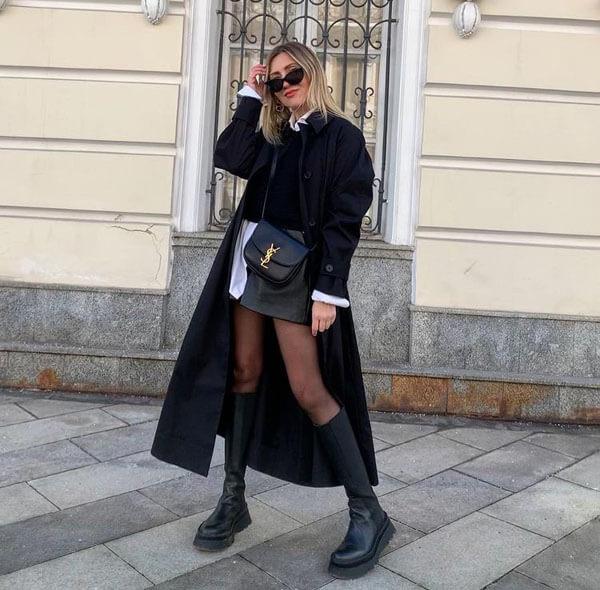 с чем носить черный тренч