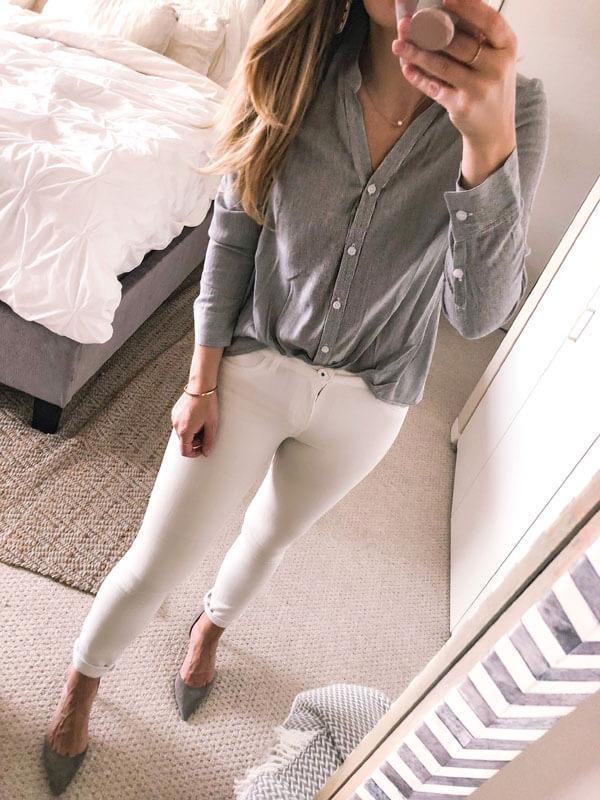 С чем носить белые джинсы скинни