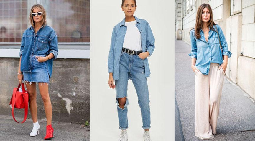 С чем носить джинсовую рубашку в 2021 году: ТОП фото