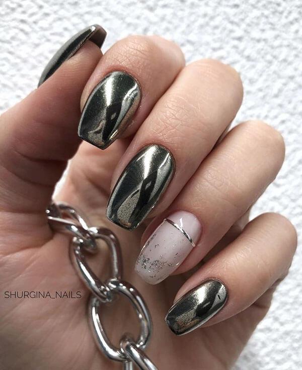 ногти металлик дизайн