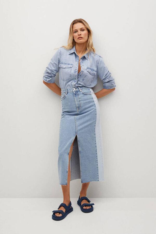 джинсовая рубашка и юбка