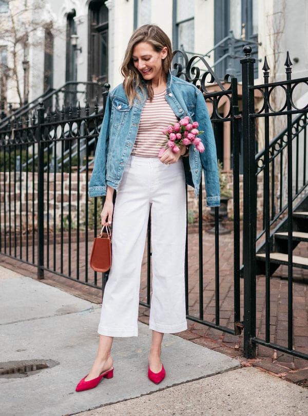 с чем носить широкие белые джинсы