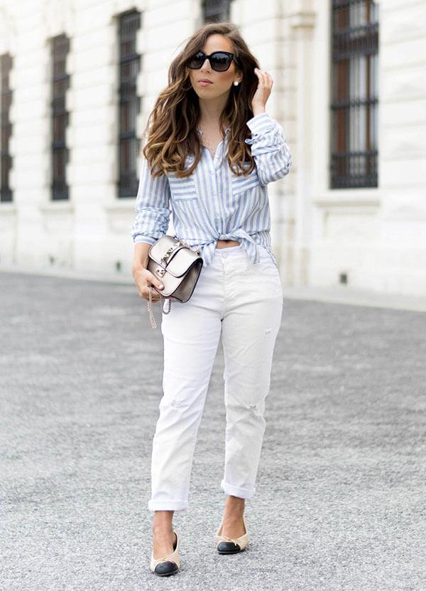 белые джинсы мом